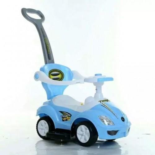 loopauto blauw met duwstang