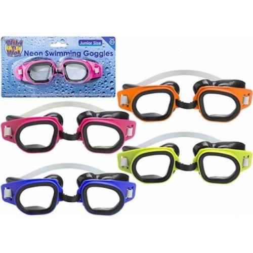Zwembril neon blauw