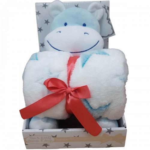 Babydeken met knuffel nijlpaard - blauw
