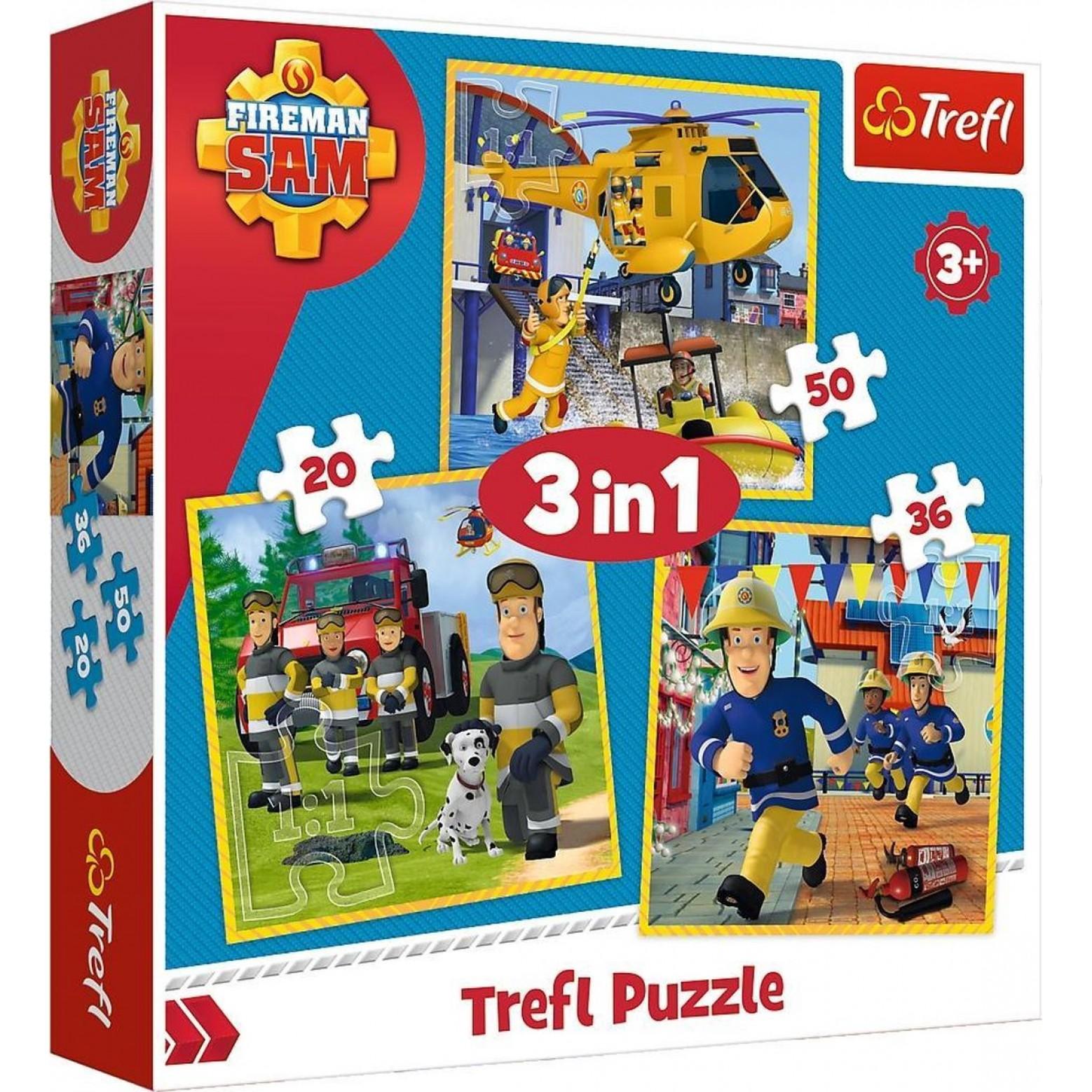 Brandweerman Sam puzzel 3 in 1 20-36-50 stukjes vanaf 3 jaar
