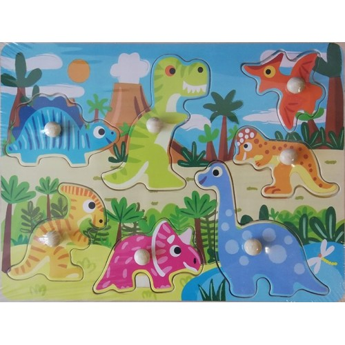 Houten steekpuzzel, dinosuarus, vanaf 3 jaar