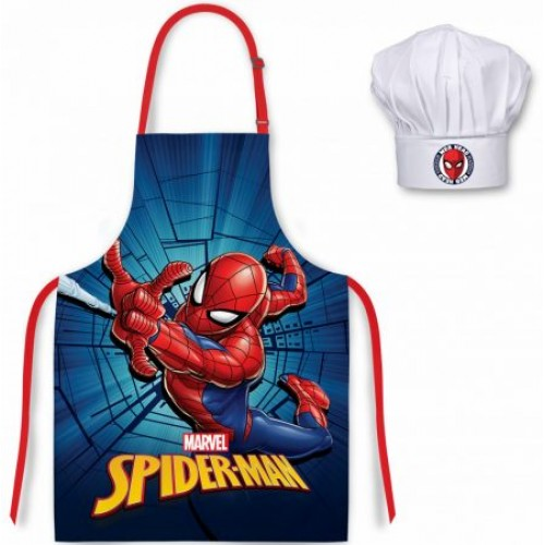 Marvel Spiderman kookschort met koks muts 3-8 jaar