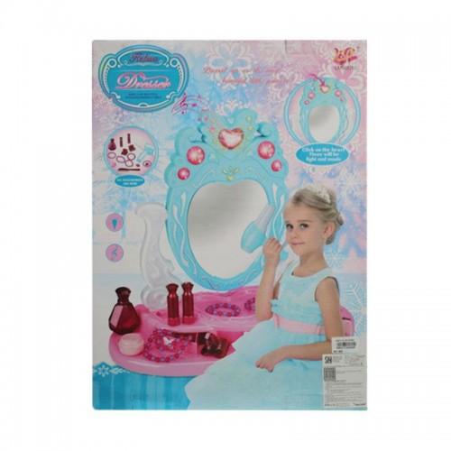 Luxe make-up tafel met licht en geluid roze/blauw 14-delig