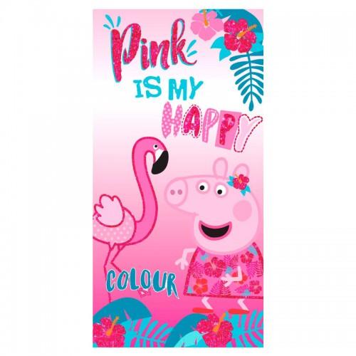 "Peppa Pig strandlaken 140 x 70 cm ""Pink is my happy  colour"""