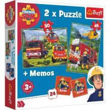 Brandweerman Sam puzzel 2 stuks met memory spel