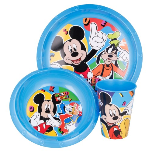 Mickey Mouse 3-delig ontbijtset en placemat