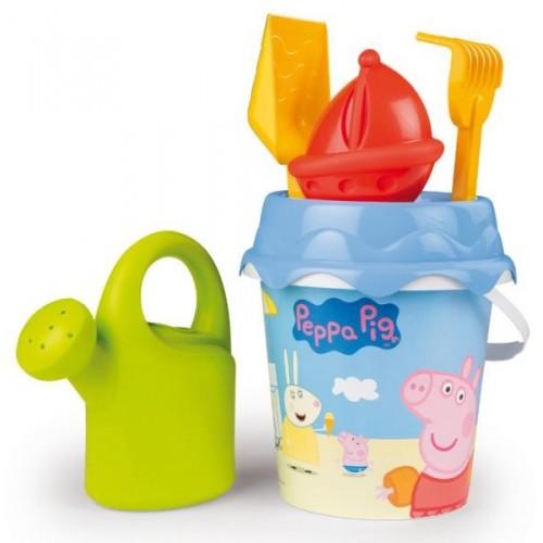 Peppa Pig 6-delig zandbak/strand speelgoed emmer set met gieter