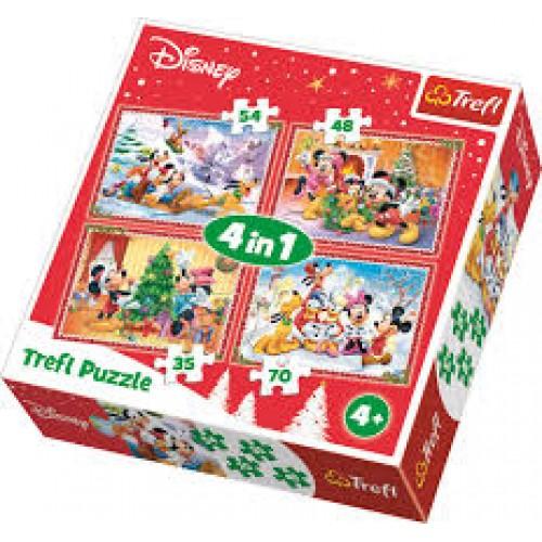 Disney Mickey - Donald - Goofy en Minnie puzzel 4 in 1
