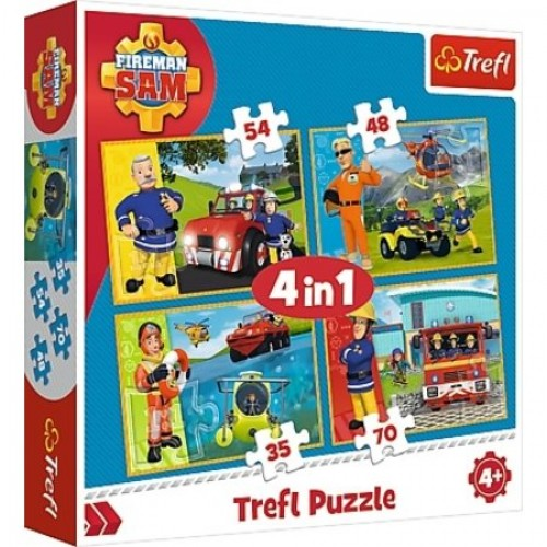 Brandweerman Sam puzzel 4 in 1